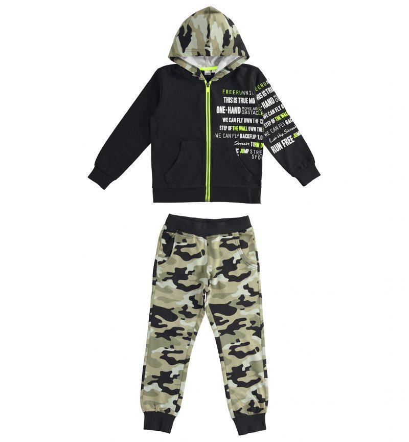 IDO Tuta 100/% Cotone Felpa Nera e Pantalone Camouflage
